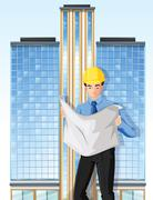 An engineer in front of a tall building Stock Illustration