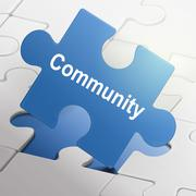 community word on blue puzzle pieces - stock illustration