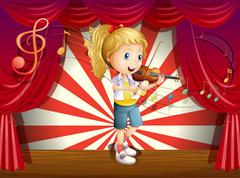 Stock Illustration of A stage with a young performer