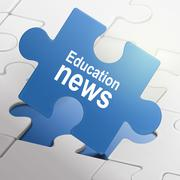 education news on blue puzzle pieces - stock illustration