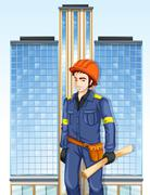An engineer outside the tall building - stock illustration