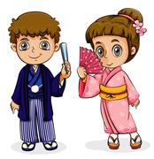 A male and a female Asian - stock illustration