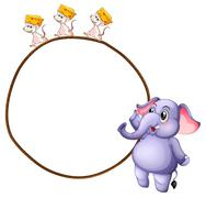 Three mice and an elephant - stock illustration