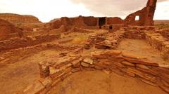 Chaco Culture 38 Tilt Up Pueblo Bonito Native American Ruins Raining - stock footage