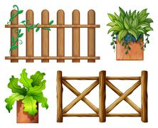 Stock Illustration of Wooden fence and potted plants