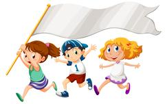 Three kids running with an empty banner Stock Illustration