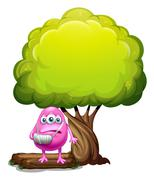 An injured pink beanie monster standing under the giant tree - stock illustration