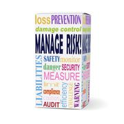manage risk words on product box - stock illustration
