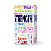Strength word on product box Stock Illustration