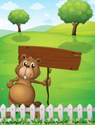 Stock Illustration of A beaver holding an empty signboard standing near the fence