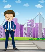 A handsome businessman standing at the pedestrian lane - stock illustration