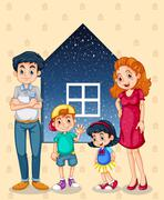 A family with four members Stock Illustration