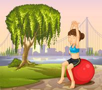 A girl exercising with a bouncing ball near the giant tree - stock illustration