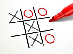 Stock Illustration of tic-tac-toe game with red pen over document