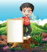 A man standing above the stump holding an empty signboard - stock illustration