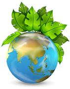 Planet earth with green plants Stock Illustration