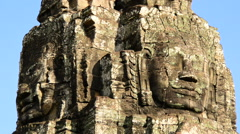 Zoom out-  Stone Carving of Two Headed Buddha Goddess on Temple - Angkor Wat Stock Footage