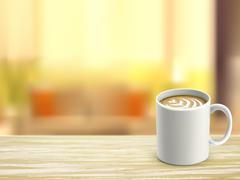 closeup of wooden desk and coffee in room - stock illustration
