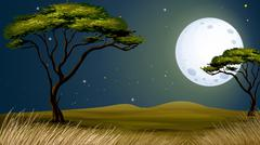 A tree and the bright fullmoon Stock Illustration