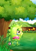 A crying monster under the tree - stock illustration