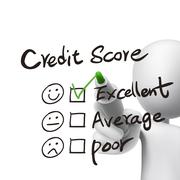Stock Illustration of credit score words written by 3d man