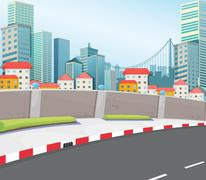 A city with tall buildings Stock Illustration