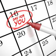 Day for you words circle marked on a calendar Stock Illustration