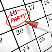 Party word circle marked on a calendar Stock Illustration