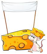 Stock Illustration of A mouse carrying a slice of cheese below the empty banner