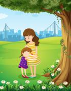 Stock Illustration of A mother and her daughter under the tree