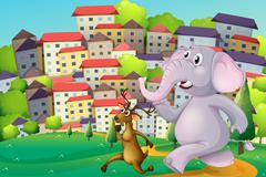 A deer and an elephant running at the hilltop across the tall buildings Stock Illustration