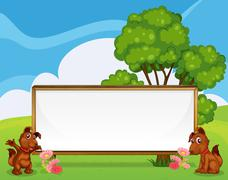 Two adorable puppies beside the big empty signboard - stock illustration