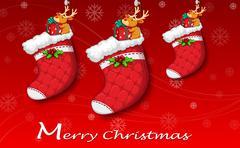 Three red christmas stockings Stock Illustration