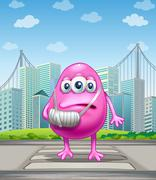 An injured pink monster crossing the street - stock illustration