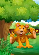 A brown bear playing under the tree at the backyard - stock illustration
