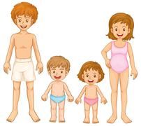 A family in their swimming attire Stock Illustration