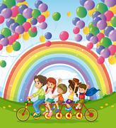 Stock Illustration of A multi-wheeled bike below the floating balloons near the rainbow
