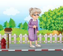 An old woman at the street with a cane standing near the mailbox - stock illustration