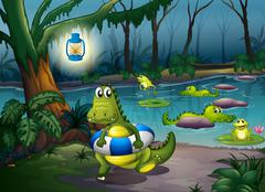 Alligators at the pond in the forest Stock Illustration