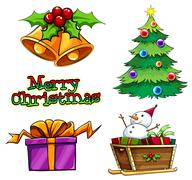 A group of christmas decors Stock Illustration