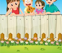 A family at the backyard - stock illustration