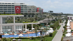 The swimming pool near beach at the luxury hotel, Antalya, Turkey Stock Footage