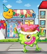 A monster with a cake above the head - stock illustration