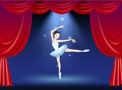A stage with a beautiful ballerina dancer Stock Illustration