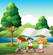 Kids running near the riverbank while bringing an empty banner Stock Illustration