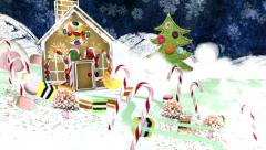 Christmas Eve - Reindeer and Gingerbread House. Mixed media animation. Stock Footage