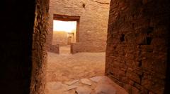 Chaco Culture 40 Zoom In Pueblo Bonito Native American Ruins Stock Footage