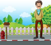 An old man at the roadside standing near the mailbox - stock illustration