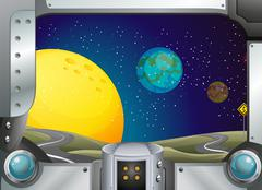A metal frame with a view of the outerspace Stock Illustration