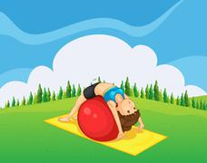 A young girl exercising with a bouncing ball at the hilltop - stock illustration